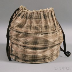 Brown and White Gingham-patterned Cloth Hat Box