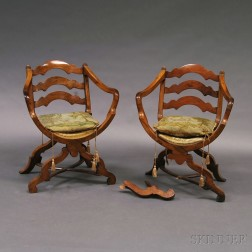 Pair of Continental Fruitwood Armchairs