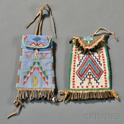 Two Ute Loom-beaded Pouches