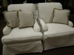 Pair of Continental-style White Upholstered Chairs