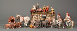 """Folk Art Carved and Painted Wooden """"Smith Bros Circus"""" Figural Group"""