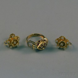 Two Pieces of 14kt Gold Gem-set Jewelry