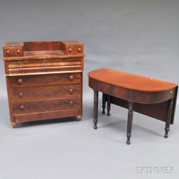 Late Federal Mahogany and Mahogany Veneer Drop-well Bureau and a Classical Table