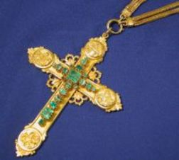 Antique 18kt Gold and Emerald Cross