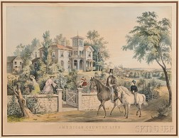 """N. Currier, Publisher, After F.F. Palmer (act. New York, 1812-1876)    AMERICAN COUNTRY LIFE """"May Morning,"""""""
