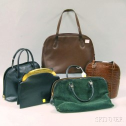 Five Brown, Black, and Green Leather and Suede Purses and Cases