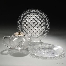 Three Pieces of American Etched Colorless Glass