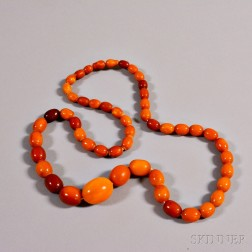 String Necklace with Composite Amber Beads