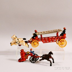 Two Painted Cast Iron Fire Wagons