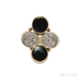 14kt Gold, Onyx, and Diamond Ring