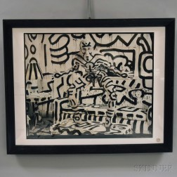 Framed Poster of Keith Haring Photographed by Annie Leibovitz