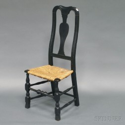 Queen Anne Black-painted Spanish-foot Side Chair