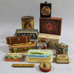 Fourteen Mostly Advertising Tins