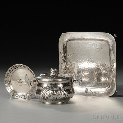 Three American Aesthetic Movement Sterling Silver Items