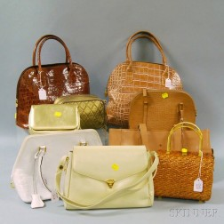 Nine White, Brown, and Metallic Handbags, Purses, and Clutches