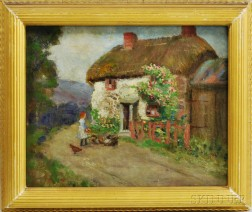 Continental School, 19th/20th Century      Thatched Cottage with Girl Feeding Chickens