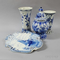 Four Delft Blue and White Items