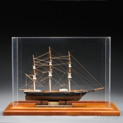 Small Carved and Painted Cased Model of the Three-masted Vessel Sea Witch