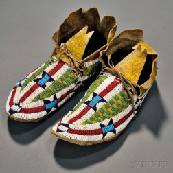 Pair of Cheyenne Beaded Hide Moccasins