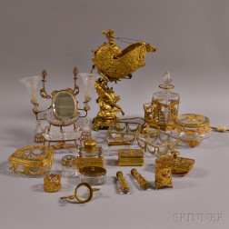 Fourteen Gilt-metal Mounted Glass Desk Items.     Estimate $200-400