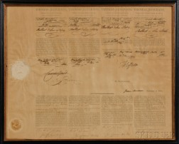 Jefferson, Thomas (1743-1826) Four-language Ships Papers for the Brig Maria, 10 July 1804, Countersigned by James Madison (1751-1836).