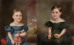 Attributed to James Sullivan Lincoln (Rhode Island, 1811-1888) Pair of Portraits of Sisters Emma Jane and Martha Orrell, b. Providence
