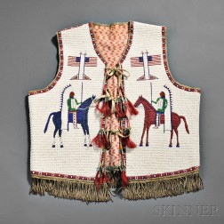 Lakota Pictorial Beaded Hide Vest