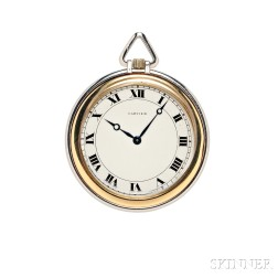 Art Deco Platinum and 18kt Gold Open-face Pocket Watch, Cartier