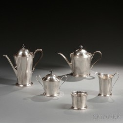 Five-piece Watson Dorian   Pattern Sterling Silver Tea and Coffee Service