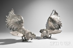 Pair of Portuguese .833 Silver Roosters