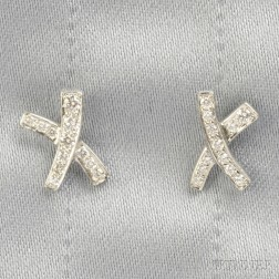"Platinum and Diamond ""X"" Earrings, Paloma Picasso, Tiffany & Co."