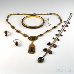 Small Group of Mostly Victorian Garnet Jewelry