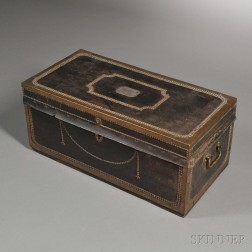 Sailor's Brass-bound Leather-covered Camphorwood Sea Trunk