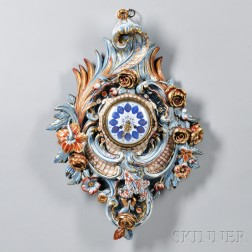 French Faience Wall Clock