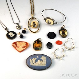 Small Group of Mostly Scrimshaw and Cameo Jewelry