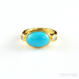 22kt Gold, Sleeping Beauty Turquoise, and Diamond Ring