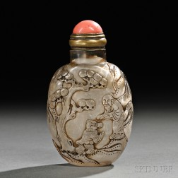 Crystal Snuff Bottle with a Landscape