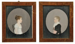 Pair of Portraits of Young Man and Girl, the Children of General William Ross