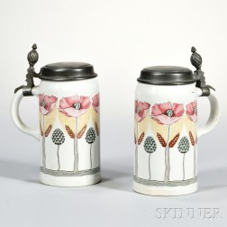 Pair of Villeroy and Boch Mettlach Steins