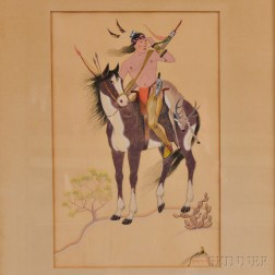 Framed Gouache of an Indian Hunter on Horseback
