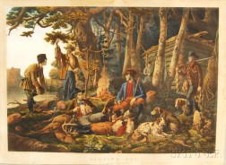 """Currier & Ives, publishers (American, 1857-1907)      Camping Out: """"Some of the Right Sort."""""""