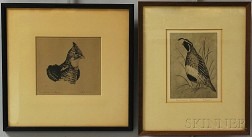 Two Framed Etchings of Birds:      William Joseph Schaldach (American, 1896-1982), Head of a Grouse