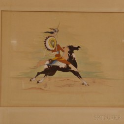 Framed Gouache of a Warrior on Horseback