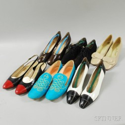 Thirty-two Pairs of Mostly Salvatore Ferragamo Lady's Shoes