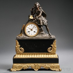 French Black Slate and Gilt Mantel Clock
