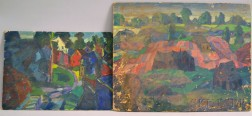 Leighton R. Cram (American, 1895-1981)      Two Works: Landscape with Houses