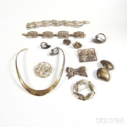 Group of Mid-Century Sterling Silver Jewelry