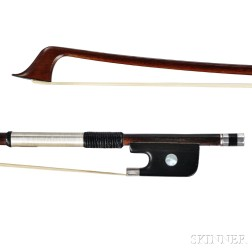French Silver-mounted Violoncello Bow, F.N. Voirin, c. 1880