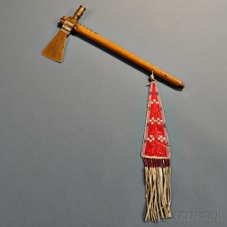 Plains Brass-headed Tomahawk with Beaded and Quilled Hide Drop