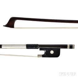 French Nickel-mounted Violoncello Bow, c. 1830